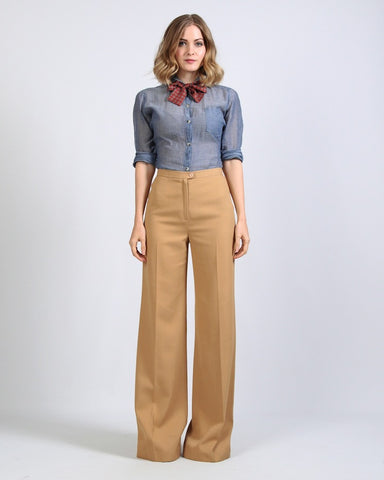 70s Camel Wide Leg Bellbottoms