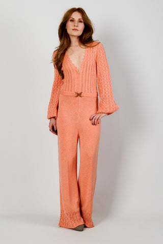 Sweater Knit Bellbottom Jumpsuit