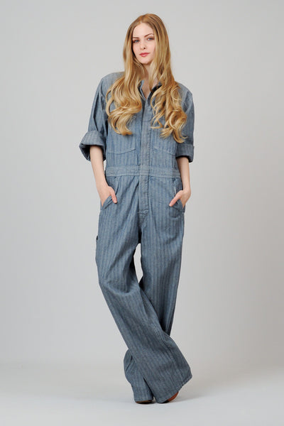 Herringbone Denim Coveralls L