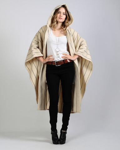 Hooded Wool Cape Coat