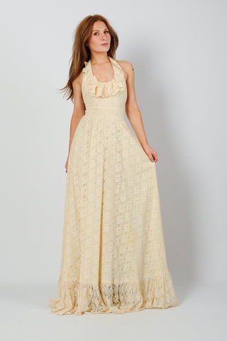 Backless Cream Lace Halter Dress