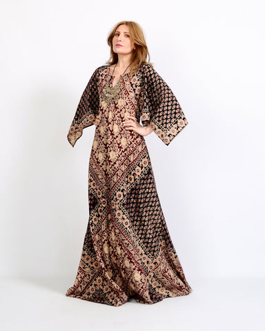 India Gauze Caftan Maxi Dress