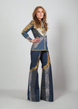 70s Patchwork Denim + Leather Bell Bottom Pantsuit