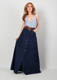 70s High Waisted Denim Maxi Skirt