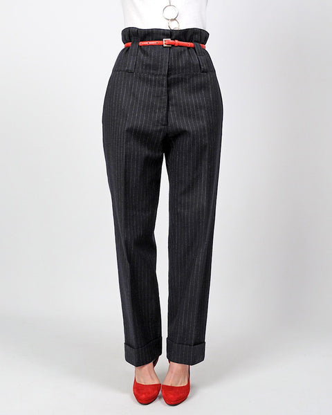 DRIES VAN NOTEN Cashmere Pinstriped Trousers