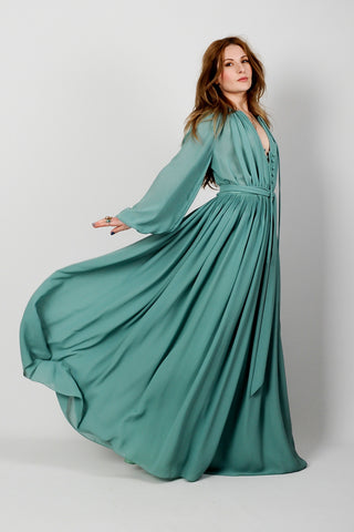 Poet Sleeve Goddess Maxi Dress