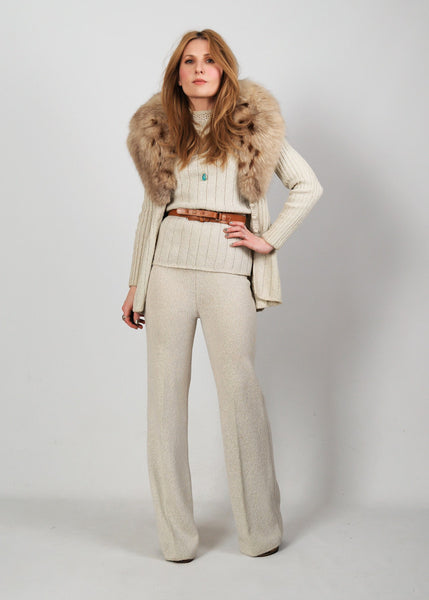 3 Piece FOX Fur Sweater Knit Pant Suit