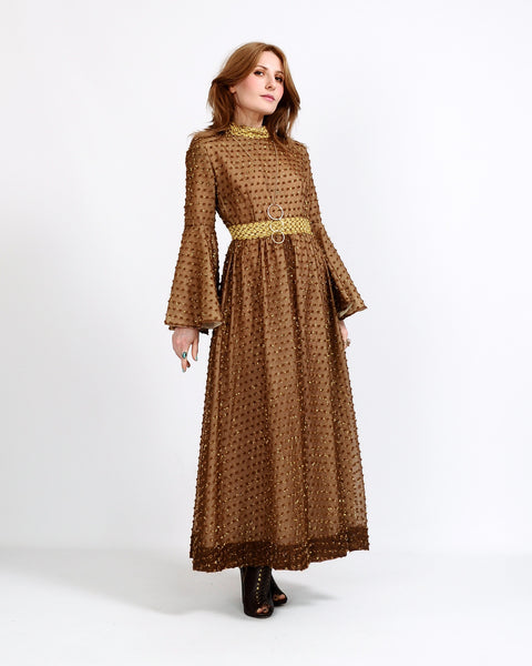 60s Metallic Bell Sleeve Maxi Dress