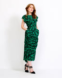 Green Roses Draped Dress