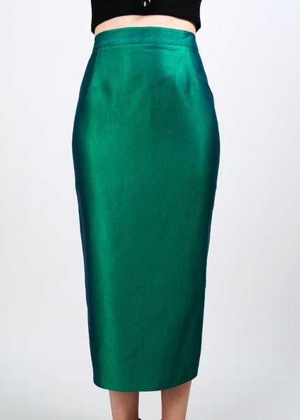 Metallic Beetle Green Pencil Skirt
