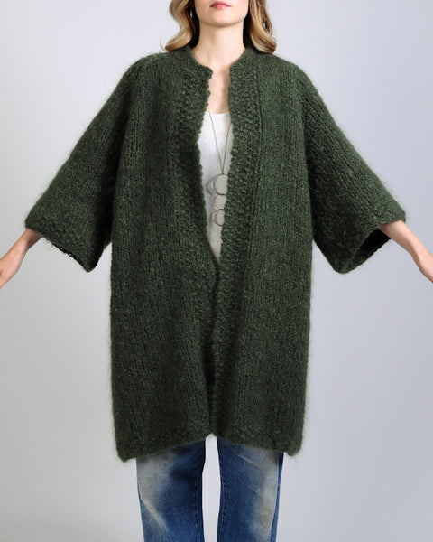 Thick Mohair Wool Sweater Coat