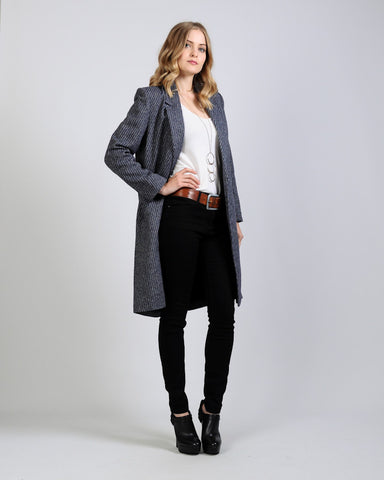 Tweed Wool Long Blazer Jacket