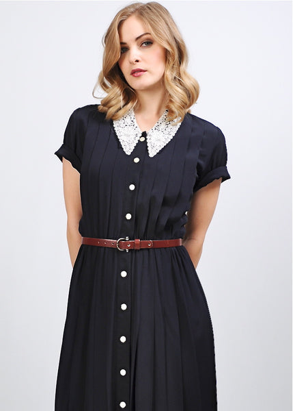 Navy Rayon + Lace Dress