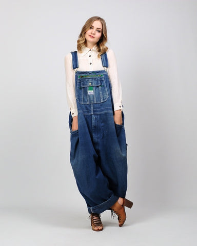 Faded Baggy Work Wear Overalls