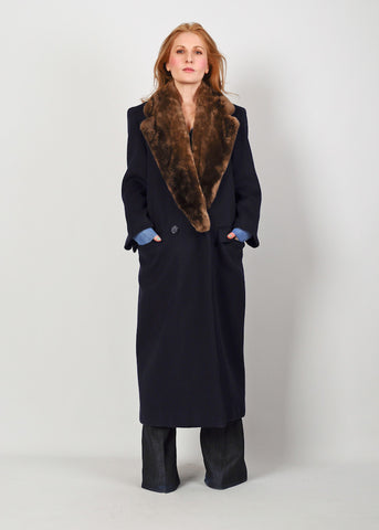 Perry Ellis Fur + Wool Maxi Coat