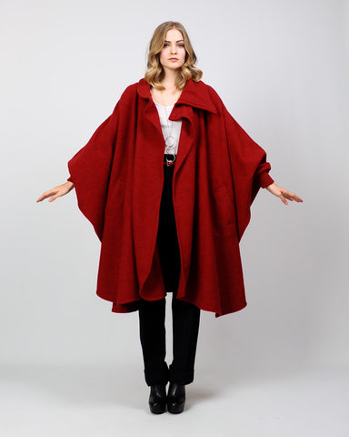 Garnet Red Wool Cape Coat