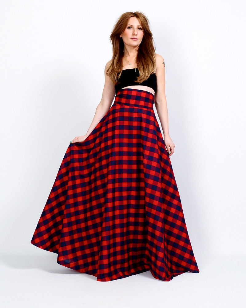babee12f7b High Waisted Plaid Maxi Skirt – Tin Roof Vintage