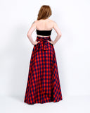 High Waisted Plaid Maxi Skirt