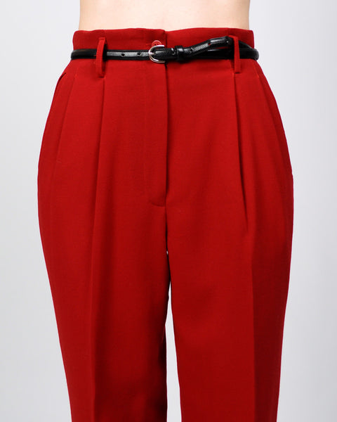Henri Bendel Red Wool Trousers