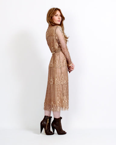 Beaded Silk Chantilly Lace Dress