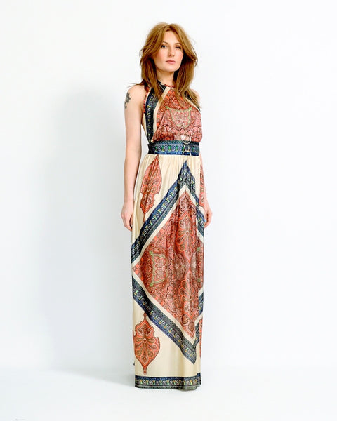 Backless Scarf Print Halter Dress