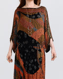 70s Beaded Silk Judith Ann India Dress