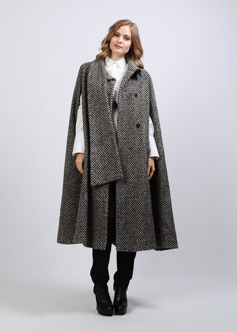 Tweed Wool Scarf Cape