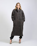 Tweed Wool Asymmetric Cowl Coat