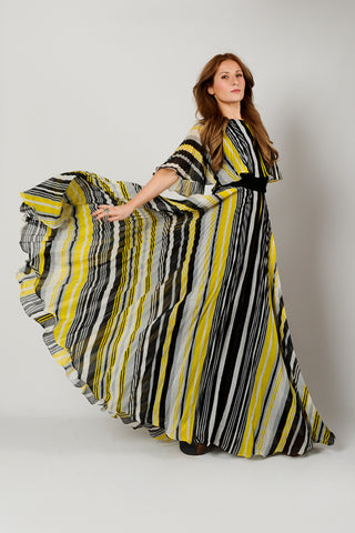 Striped Gauze Full Sweep Dress