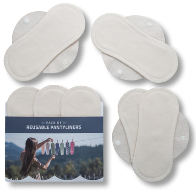 Reusable Panty liners, 7-Pack of Organic Cotton Reusable Sanitary Pantyliners with Wings; MADE IN EU; for Vaginal Discharge and Everyday Cleanliness; Non-irritating, Anti-allergic, Antibacterial; for Daily Usage and in case of White Discharge; Washable Cloth Pads w/o Chemicals; Reusable Liners