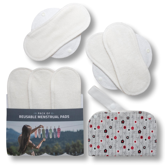 Reusable Menstrual Pads, 6-Pack Bamboo Reusable Sanitary Towels with Wings (size S & M), MADE IN EU, for Menstrual Periods and Incontinence; EXTRA Double Wet Bag with Strap; Washable Menstrual Cloth