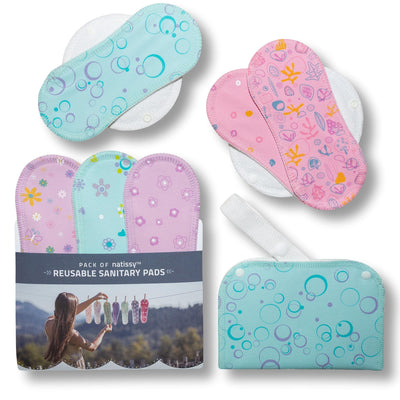 Reusable Menstrual Pads, 6-Pack Cotton Reusable Sanitary Towels with Wings (size S & M), MADE IN EU, for Menstrual Periods and Incontinence; EXTRA Double Wet Bag with Strap; Washable Menstrual Cloth