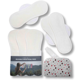 Reusable Menstrual Pads, 6-Pack Bamboo Reusable Sanitary Towels with Wings (size L & XL), MADE IN EU, for Menstrual Periods and Incontinence; EXTRA Double Wet Bag with Strap; Reusable Incontinence Towel