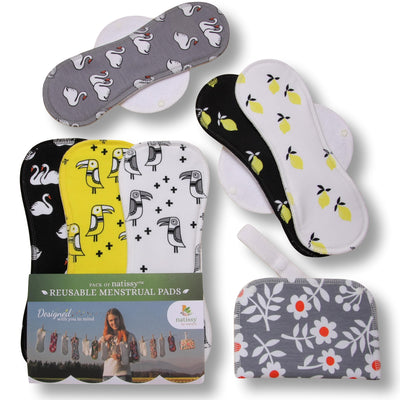 Reusable Menstrual Pads, 6-Pack Cotton Reusable Sanitary Towels with Wings (size L & XL), MADE IN EU, for Menstrual Periods and Incontinence; EXTRA Double Wet Bag with Strap; Reusable Incontinence Towel