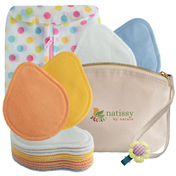 Washable Organic Cotton Nursing Breast Pads, 14-Pack of Soft Reusable Breastfeeding Pads; Eco Friendly Leak Proof Nipple Cloth for Mothers with Sensitive Skin; Laundry & Storage bags; Baby Shower Gift