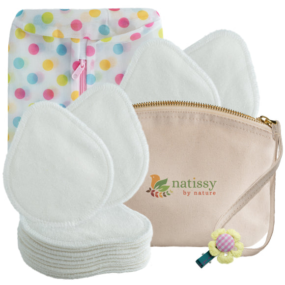 Washable Bamboo Nursing Breast Pads, 14-Pack of Soft Reusable Breastfeeding Pads; Eco Friendly Leak Proof Nipple Cloth for Mothers with Sensitive Skin; Laundry & Storage bags + Clip; Baby Shower Gift