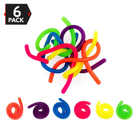 6 PACK Neon Stretchy Strings Stress Reliever Fidget Toy- Stretches from 13 inches to 10 Feet Long