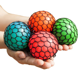 4PCS Randomly Mesh Squishy Balls Stress Relief Squeeze Grape Balls Relieve Pressure Balls