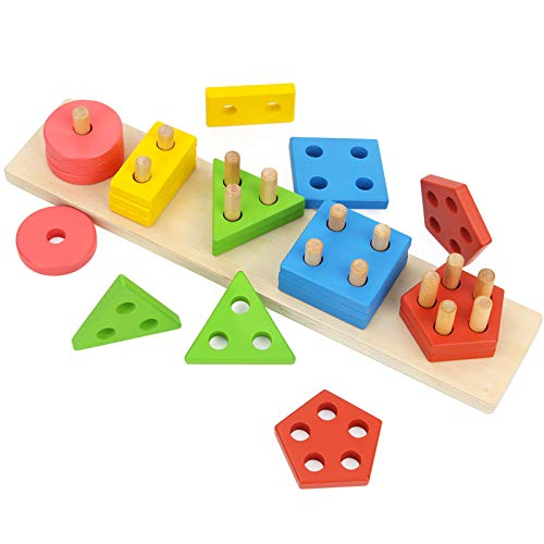 Wooden Preschool Toddler Toys Shape Color Recognition Geometric Board Blocks Stack Sort Chunky Puzzles Toy