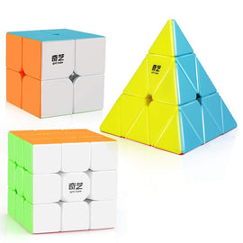 Camande Qiyi Stickerless Speed Cube Set, Qidi S 2x2 Warrior W 3x3 Qiming Pyramid Magic Cube Puzzle Toys
