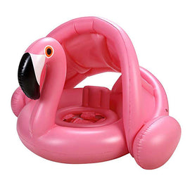 Pink Flamingo Baby Water Floats Toys with Inflatable Sunshade Swimming Pool Boat Floating Ring