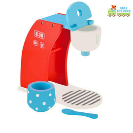 Play Kitchen Set Wood Coffee Maker Playset-Enjoy Coffee Time Pretend Play