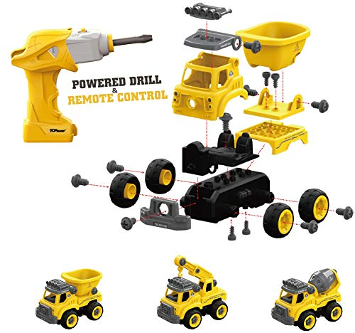 Take Apart Toys with Electric Drill Converts to Fire Truck Remote Control  Car 3 in one Take Apart Toy for Boys Gift Toys for Kids Stem Building Toy