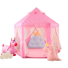 Princess Tent and Kids Tent, Hexagonal Fairy Princess Castle with Colorful Star Lights, Kids Indoor and Outdoor Play Tent, 55'' x 53''(DxH)(Pink)