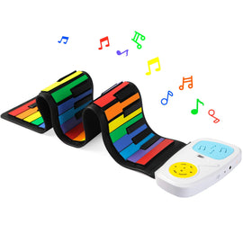 Rainbow Roll Up Piano,Portable Foldable Standard 49 Keys Flexible Soft Silicone Electronic Music Roll Up Piano Keyboard