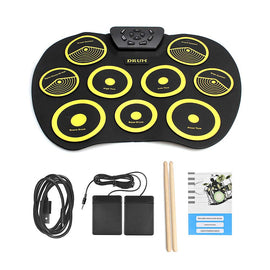 Camandetoy Portable Electric Drum Set Include Drum Sticks Pad Headphone Jack Built-in Speaker Pedals for Kids Teens Adults