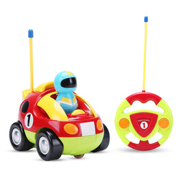 RC Cartoon Race Car with Music & Lights Electric Radio Control Toy for Baby Toddlers Kids & Children