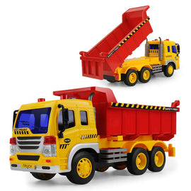 Truck Friction Powered Big Dump Truck Vehicle Toy with Lights and Sounds, Construction Car Toy for for Boys Age 5, 4, 3, 2 , 1:16 Scale