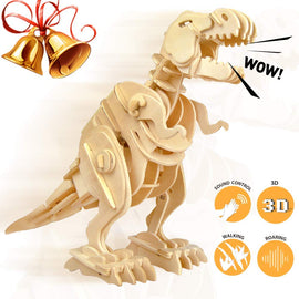 Walking Trex Dinosaur 3D Wooden Craft Kit Puzzle for Kids,Sound Control Robot T-Rex Model Kits for 6+ Year Old Boys