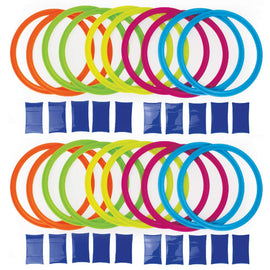 Party Pizzazz! Hopscotch Ring Set with 20 Hoops and 20 Connectors - Great for Outdoor Play at The Park for Boys and Girls!